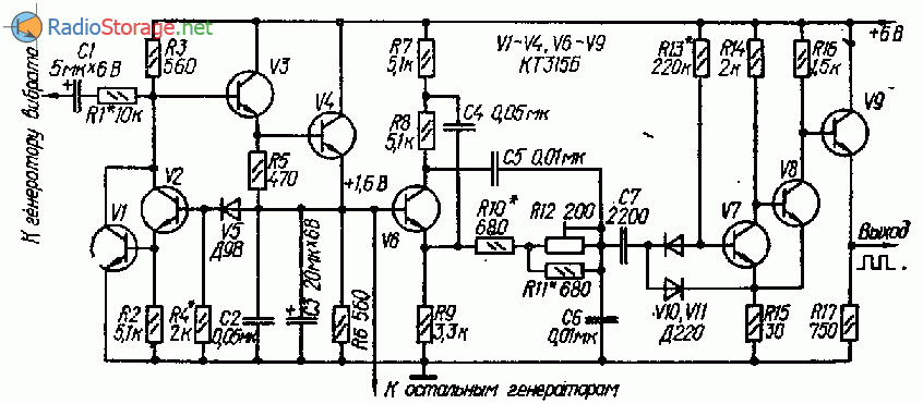 Блок генераторов тона для многоголосного музыкального инструмента