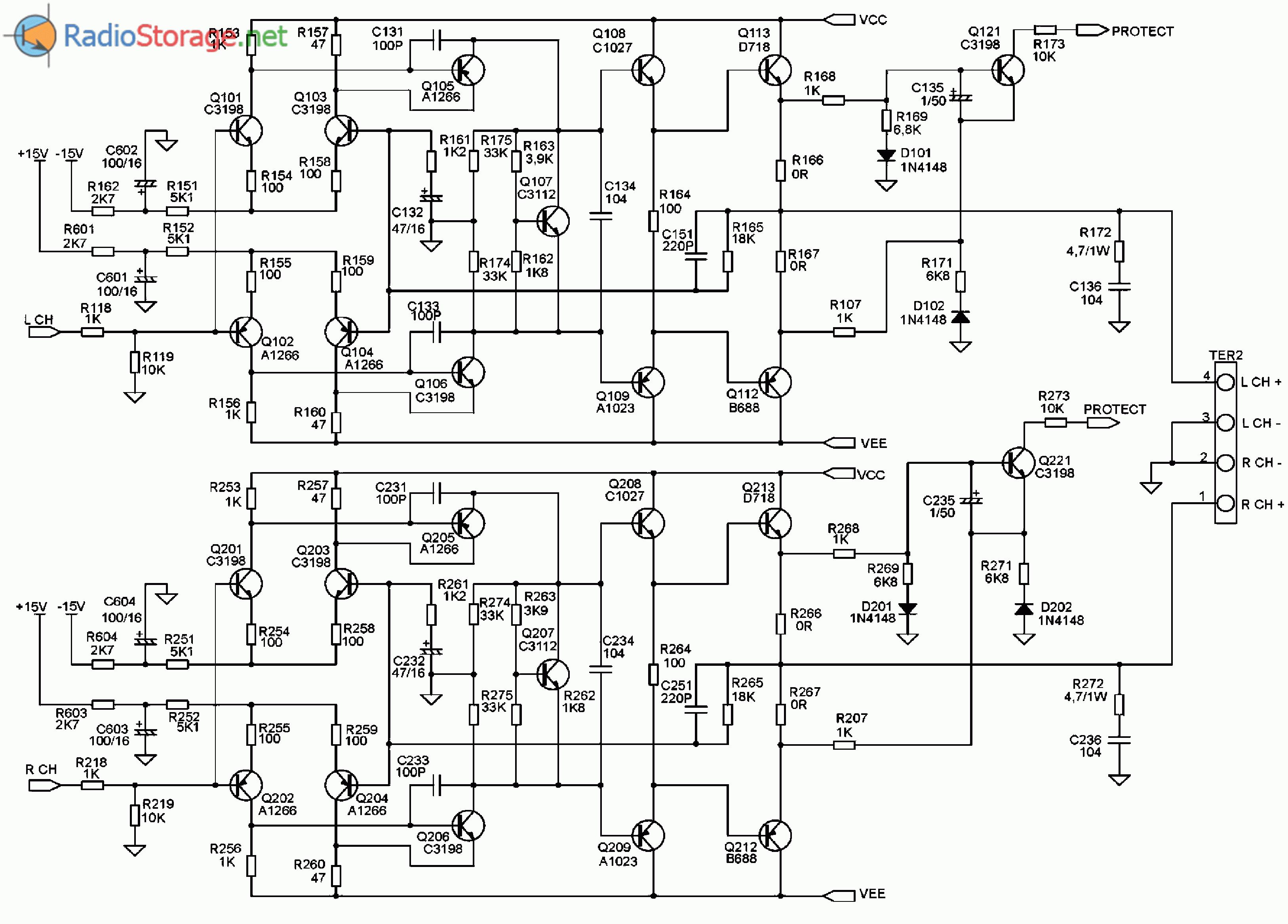 Принципиальная схема автомобильного усилителя мощности SUPRA SRD-A2150 (УМЗЧ)