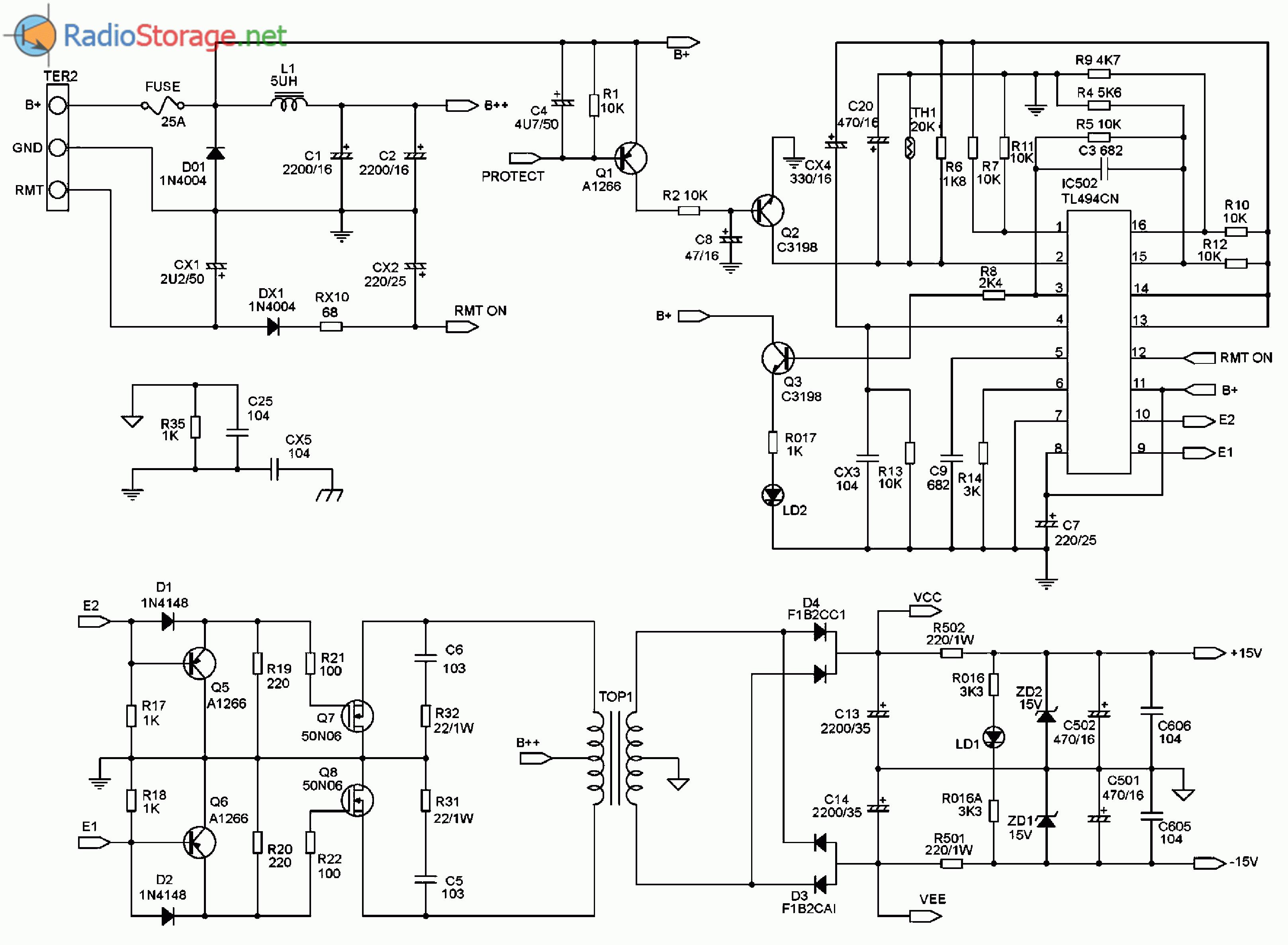 Принципиальная схема автомобильного усилителя мощности SUPRA SRD-A2150 (источник питания)