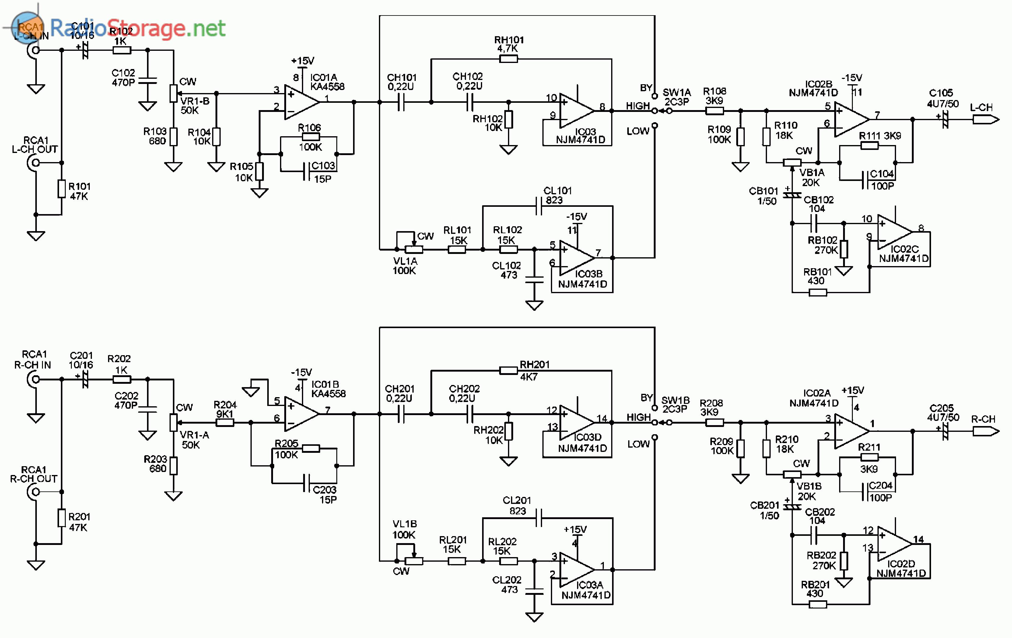 Принципиальная схема автомобильного усилителя мощности SUPRA SRD-A2150 (темброблок)
