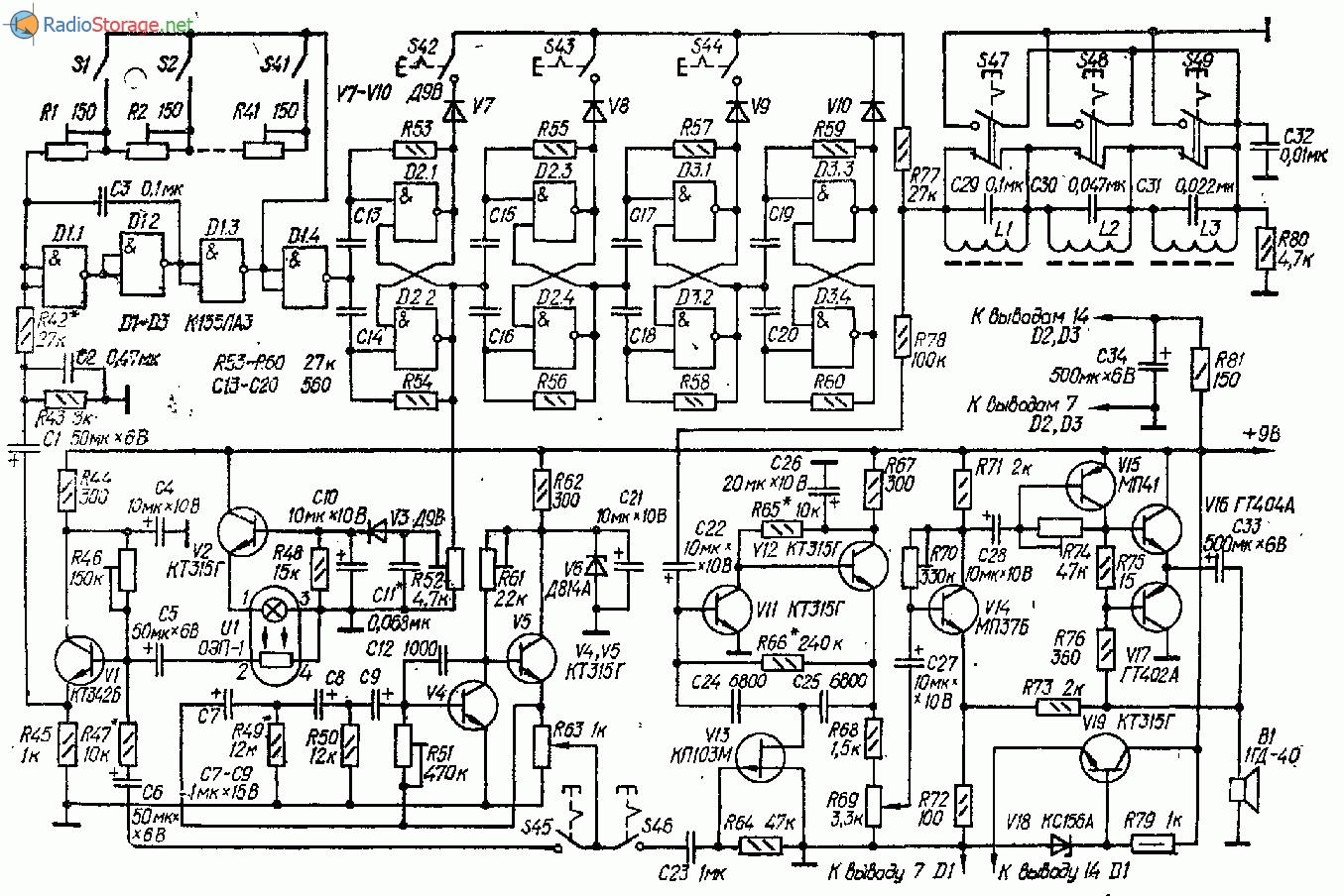 Одноголосный музыкальный инструмент - схема и описание