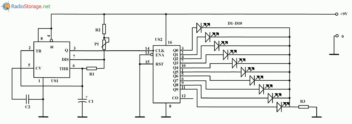 Мигающая праздничная елочка на микросхеме NE555 (ULY7855), схема