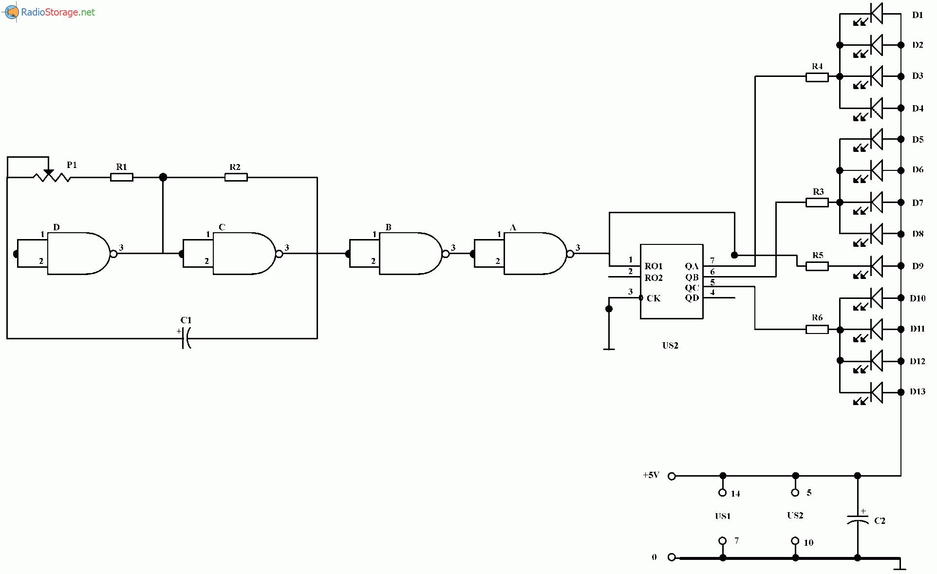 Эффект мигающей звезды на светодиодах, схема