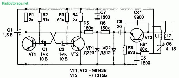 Схема генератора помех (100—170 МГц, 100 мВт)