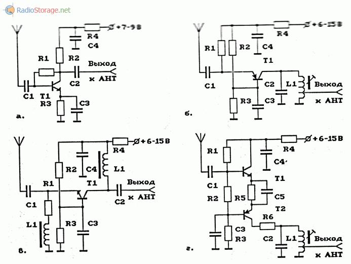 Примеры схем простых усилителей высокой частоты (УВЧ) на транзисторах
