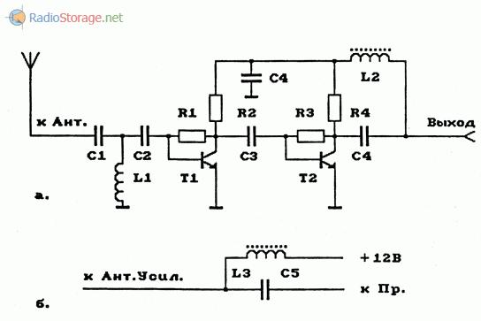Схема антенного усилителя ДМВ-диапазона и схема подключения