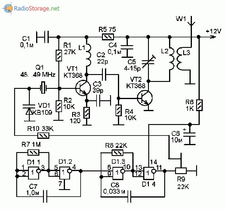 Принципиальная схема маяка на диапазон частот 144МГц