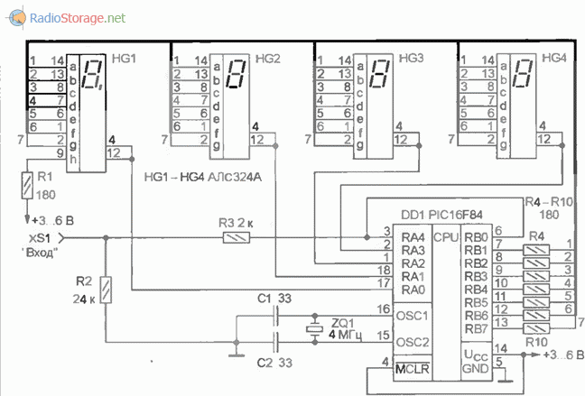 Схема частотомера на PIC микроконтроллере 250Гц-50МГц