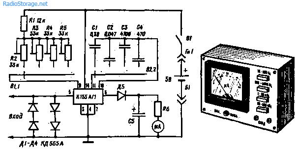Схема простого аналогового частотомера на К155АГ1