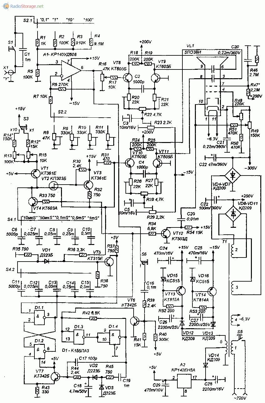 Принципиальная схема простого самодельного любительского осциллографа