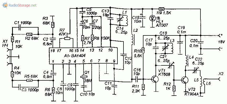 Принципиальная схема FM стереопередатчика на микросхеме BA1404