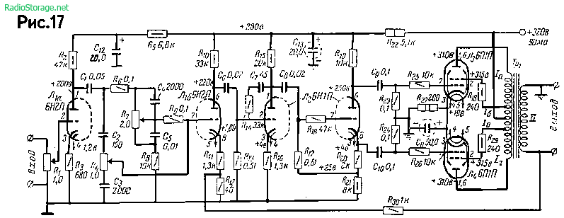Ламповый усилитель А. Кузьменко на 6Н1П, 6Н2П, 6П1П (8Вт)