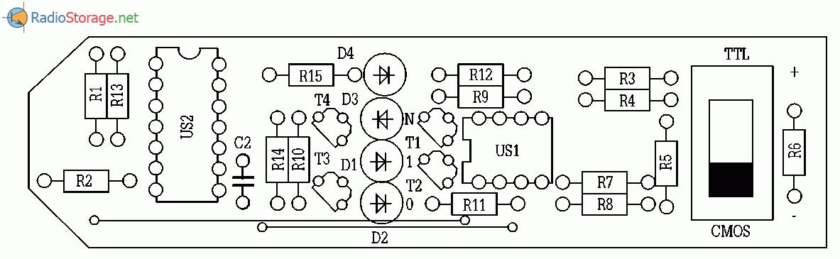 Схема логического щупа-пробника для микросхем TTL-CMOS, схема