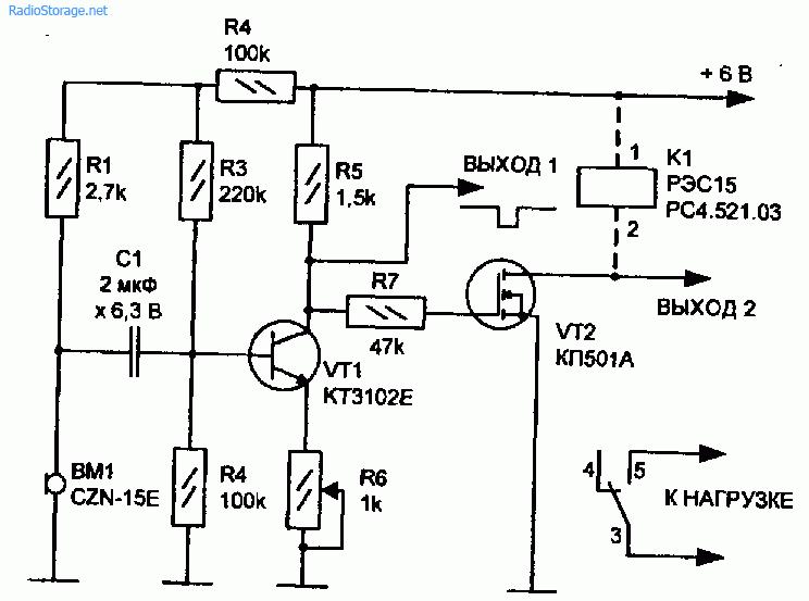 Схемы акустических датчиков выполненных на транзисторах