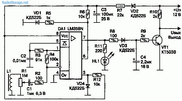Электрическая схема датчика сотрясения на микросхеме КР1040УД1А