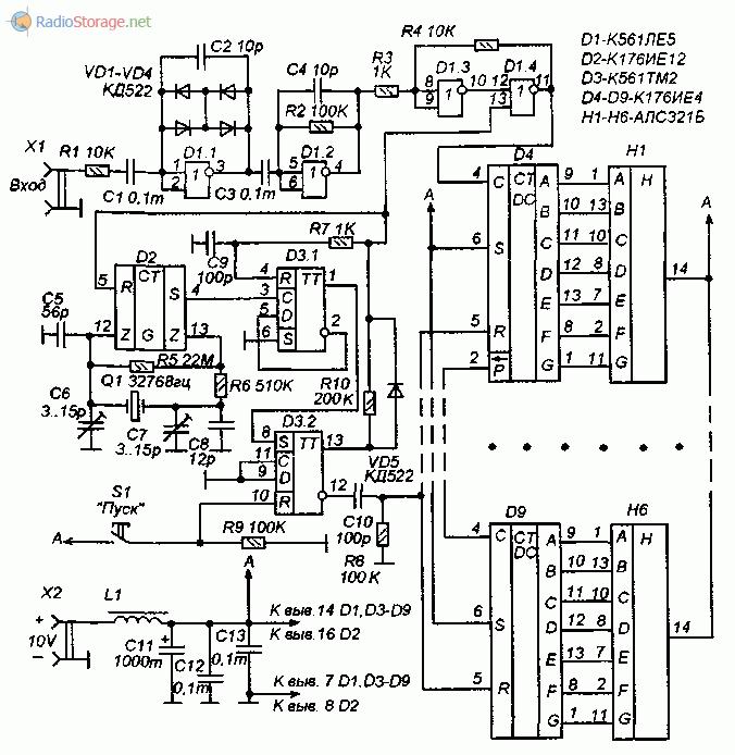 Принципиальная схема частотомера на микросхемах