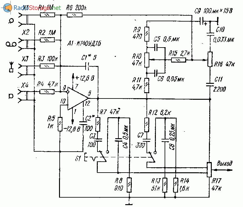 Схема предварительного усилителя на микросхеме К140УД1Б