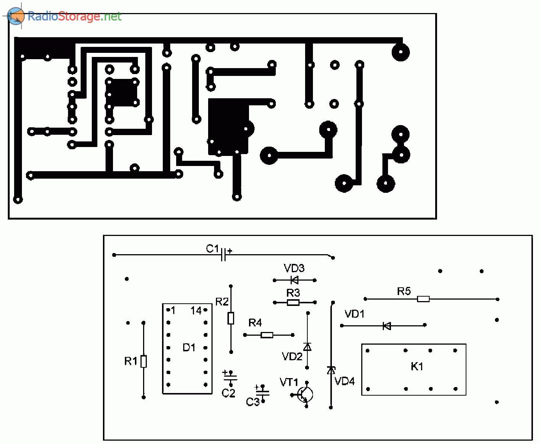 печатная плата для защитного устройства к дверному звонку