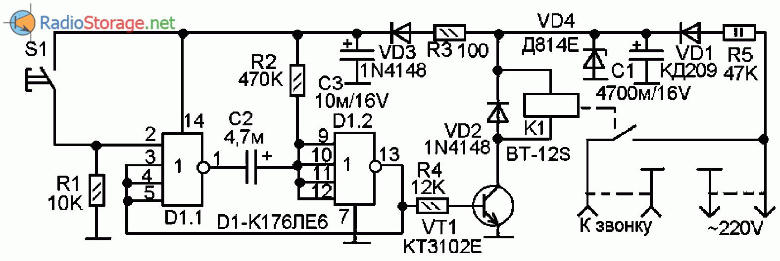 Принципиальная схема защитного устройства для домашнего электромагнитного звонка