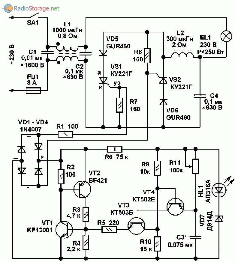 Принципиальная схема фазового регулятора мощности на тиристорах КУ221