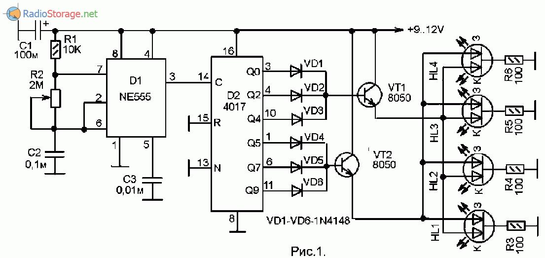 Принципиальная схема простой мигалки для светодиодов на микросхемах NE555 и 4017