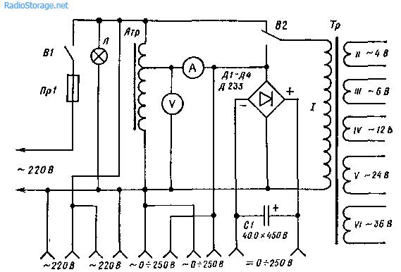 Схема простого универсального трансформатора - блока питания