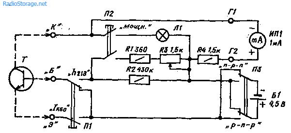 Простая приставка-пробник для проверки биполярных транзисторов