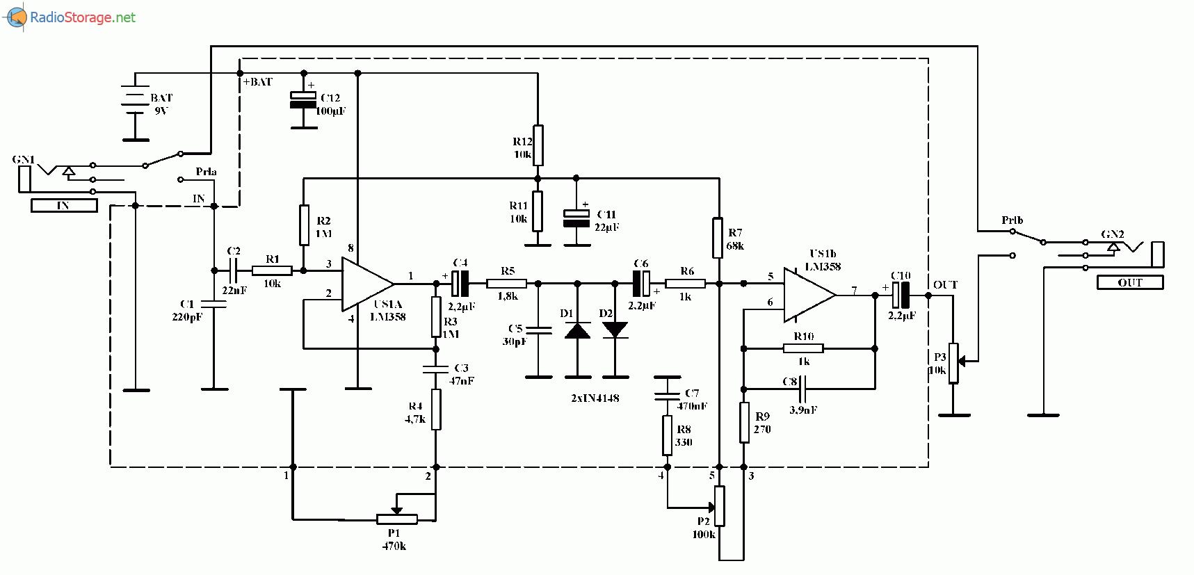 Фуз коробочка эффектов для электрогитары (LM358), схема