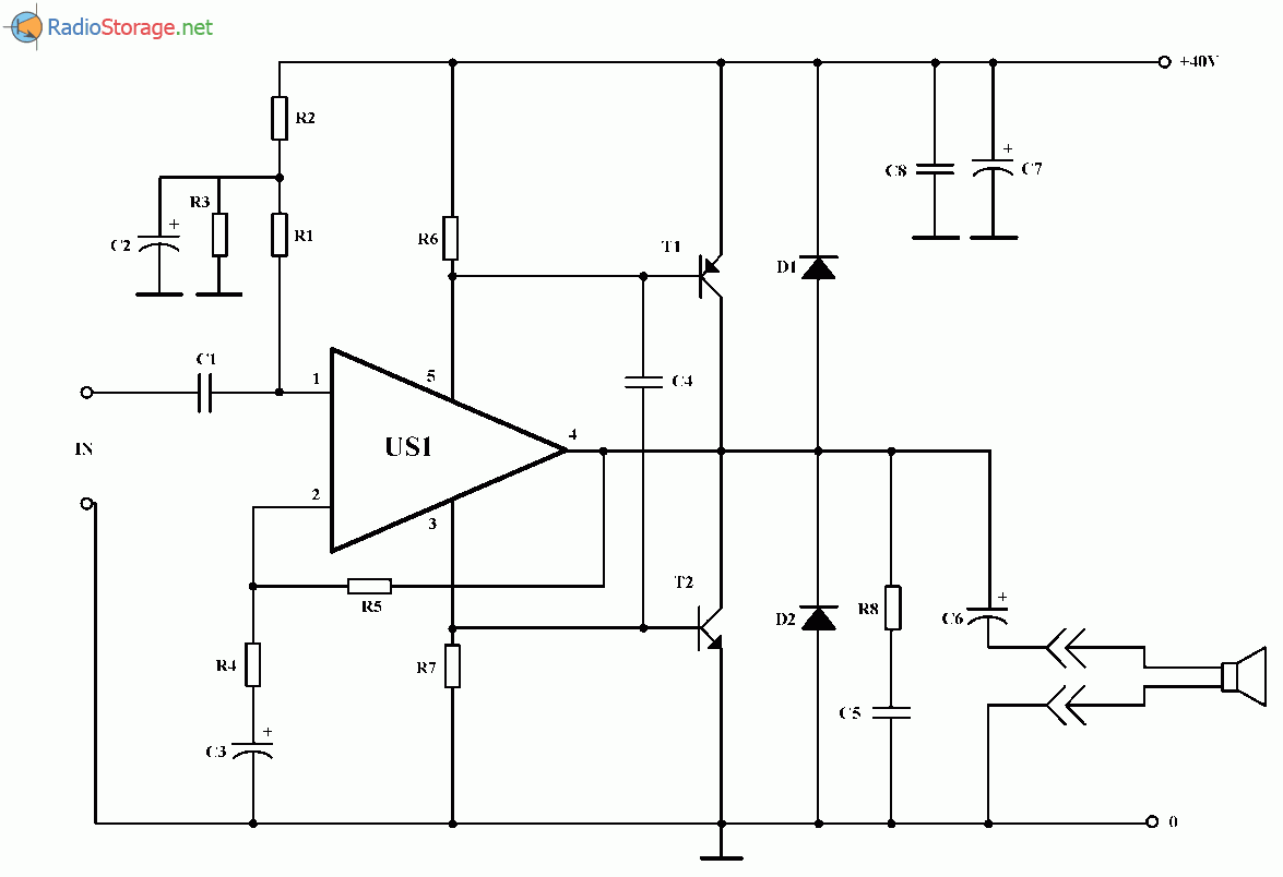 Мощный УНЧ на микросхеме ТСА1365 или TDA2030 + транзисторы (50 Вт), схема
