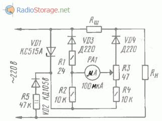 Схема - способ получения открывающего напряжения непосредственно от сети 220 В