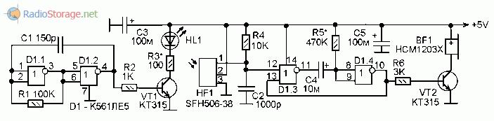 Принципиальная схема простого ИК передатчика и приемника для сигнализаторов и датчиков