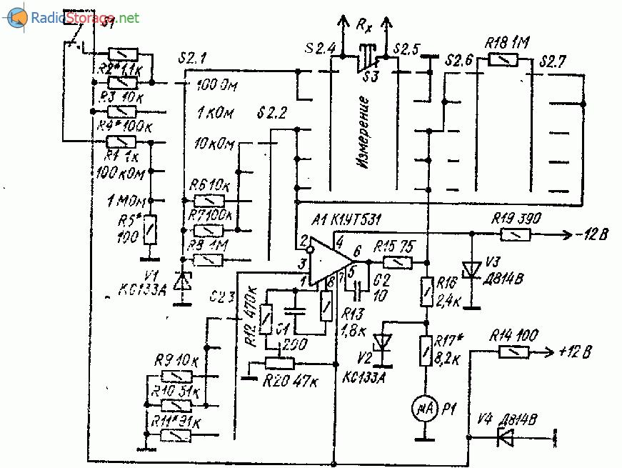 Омметр с линейной шкалой на ОУ К1УТ531