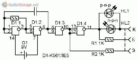 Принципиальная схема пробника биполярных транзисторов