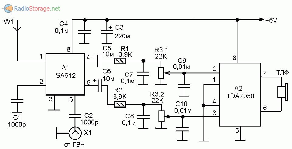 Принципиальная схема экспериментального КВ приемника