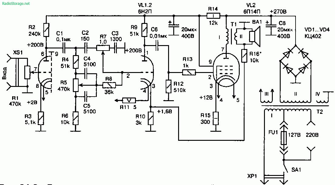 5Ватт УМЗЧ на двух электронных лампах (6Н2П, 6П14П)