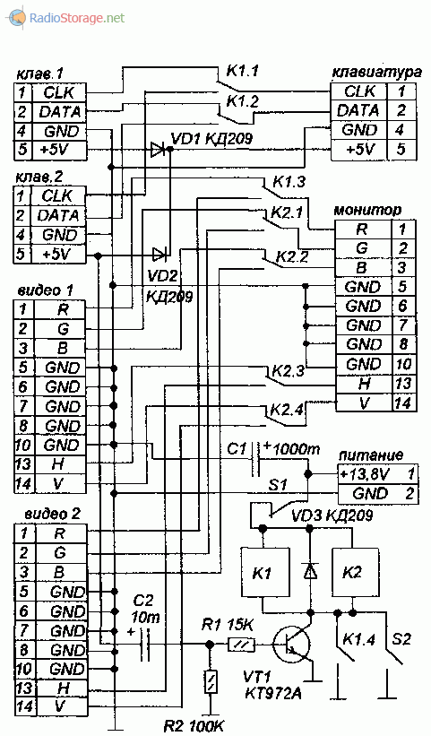 Принципиальная схема коммутатора консолей