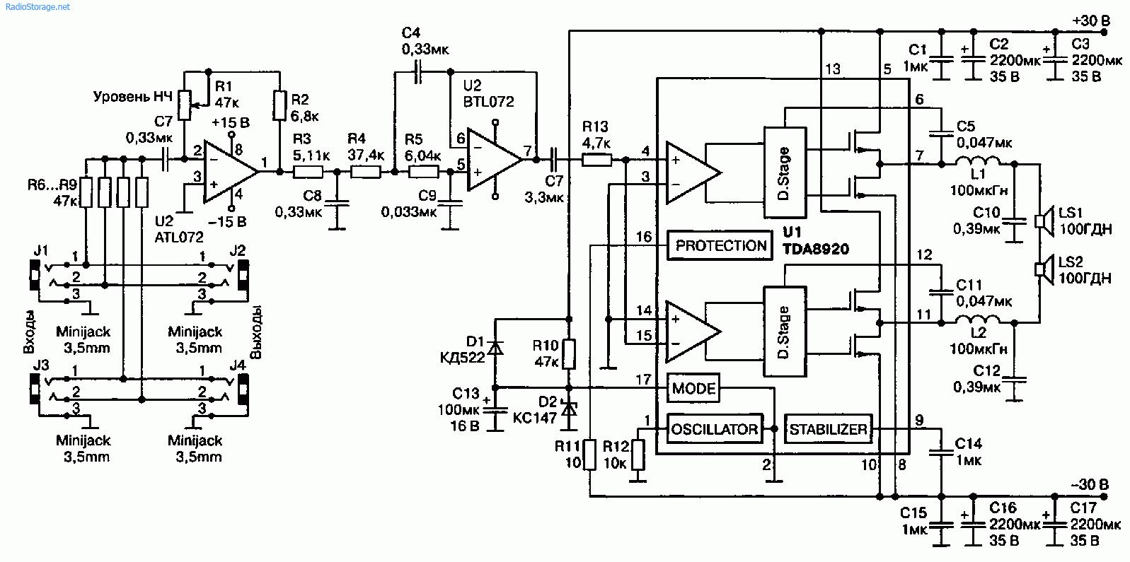 Суперсабвуфер на TDA8920 (180 Вт)