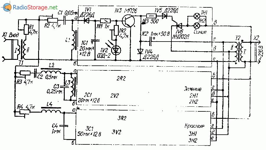 Схема светомузыки на тиристорах КУ202