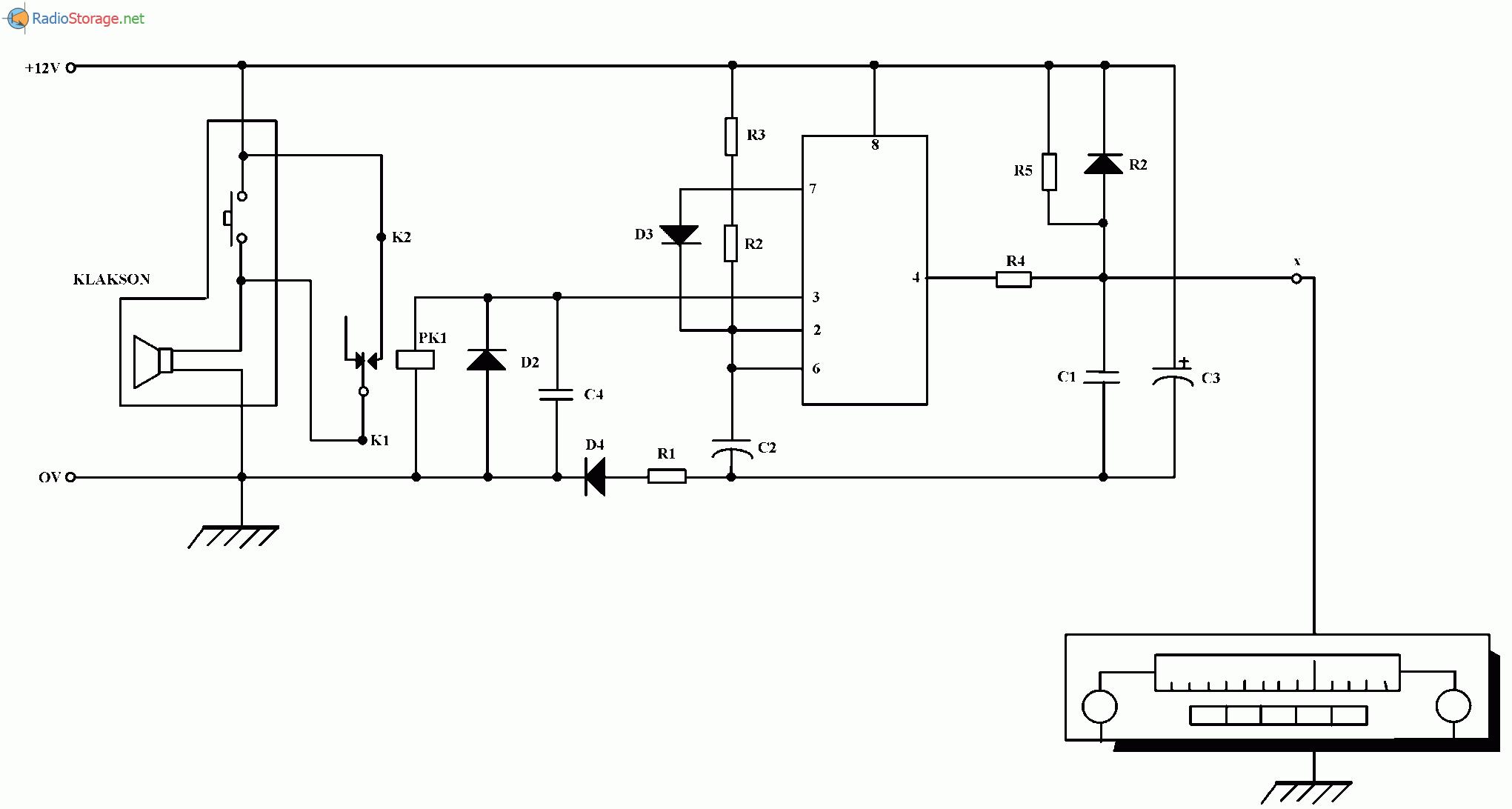 Охранное устройство для автомагнитолы, схема