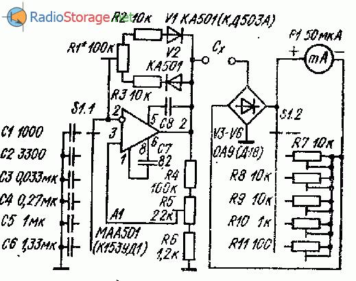 Простой стрелочный измеритель емкости электролитических конденсаторов