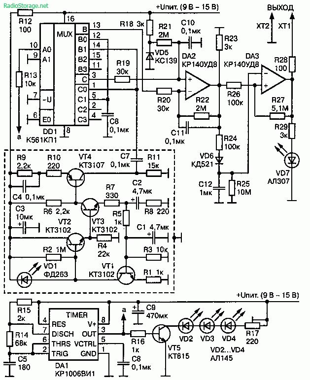 Схема передатчика сигнала используя инфракрасные лучи