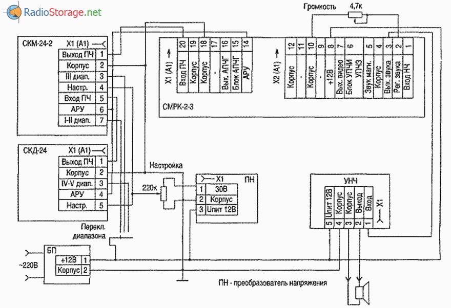Принципиальная схема и подключение селекторов каналов СК-Д-24 и СК-М-24, схема