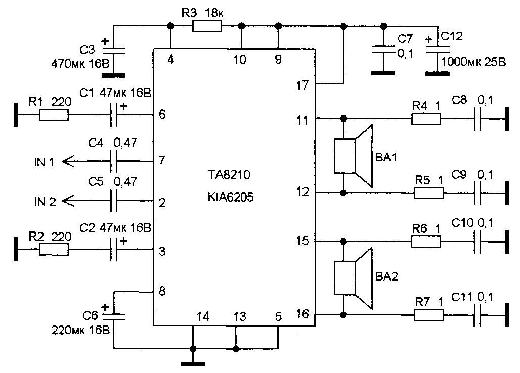 Типовая схема включения микросхемы TA8210