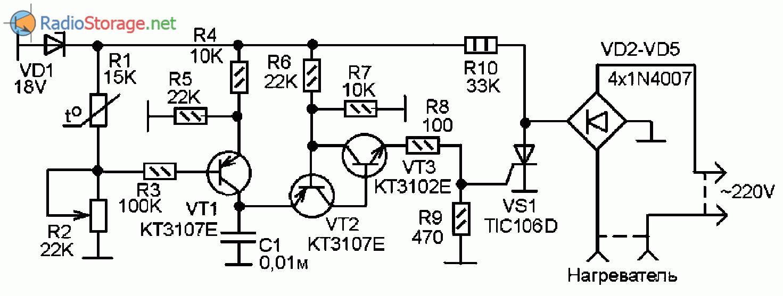 Принципиальная схема простого самодельного термостата на трех транзисторах и тиристоре