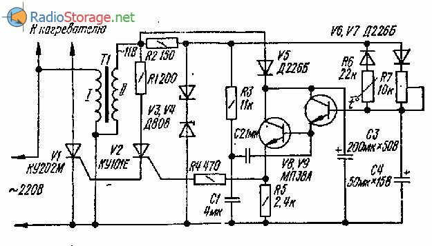 Схема терморегулятора для управления мощными нагревателями