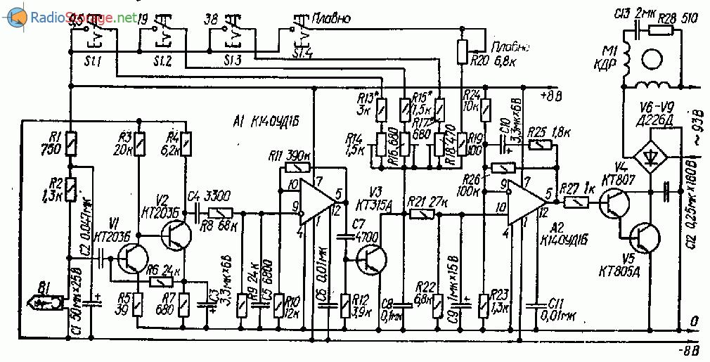Электронный переключатель скорости ленты магнитофона