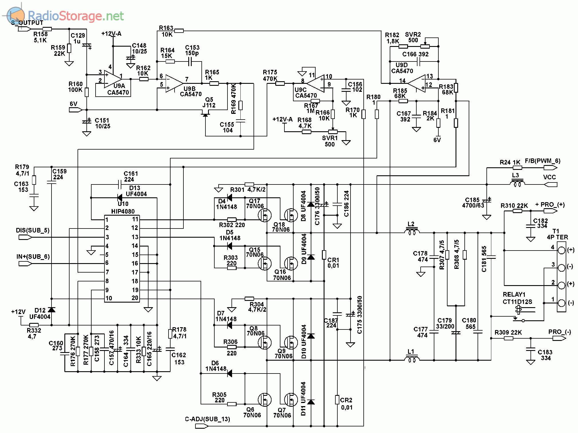Принципиальная схема автомобильного усилителя SUPRA SGD-A1800 (часть 2)