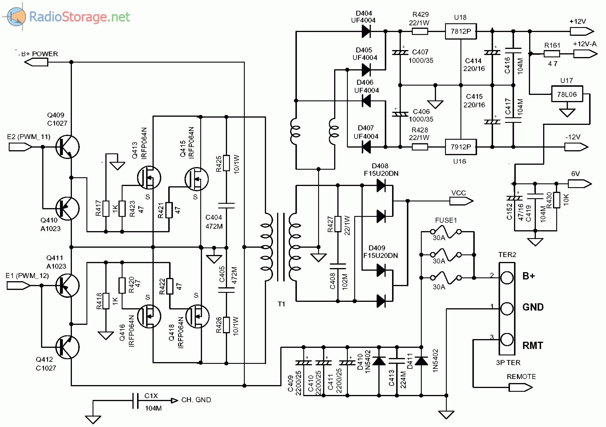 Принципиальная схема блока автомобильного усилителя SUPRA SGD-A1800 (часть 4)