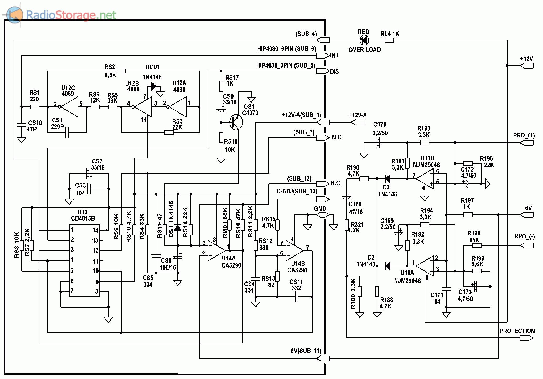 Принципиальная схема автомобильного усилителя SUPRA SGD-A1800 (часть 5)