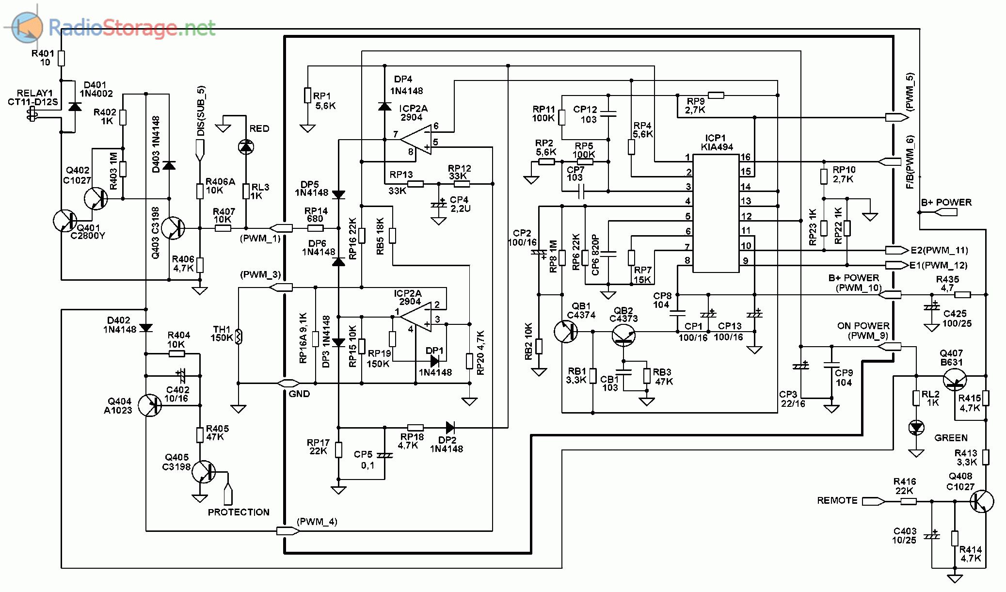 Принципиальная схема автомобильного усилителя SUPRA SGD-A1800 (часть 1)